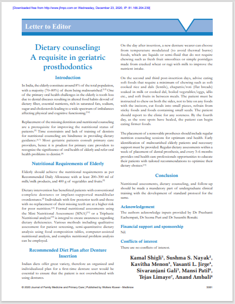 Dietary counseling: A requisite in geriatric prosthodontics