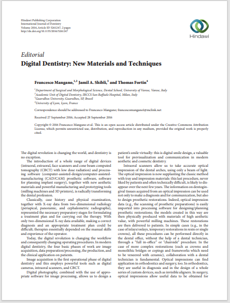 Digital Dentistry: New Materials and Techniques
