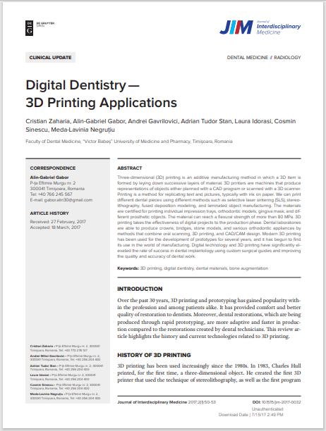 Digital Dentistry— 3D Printing Applications