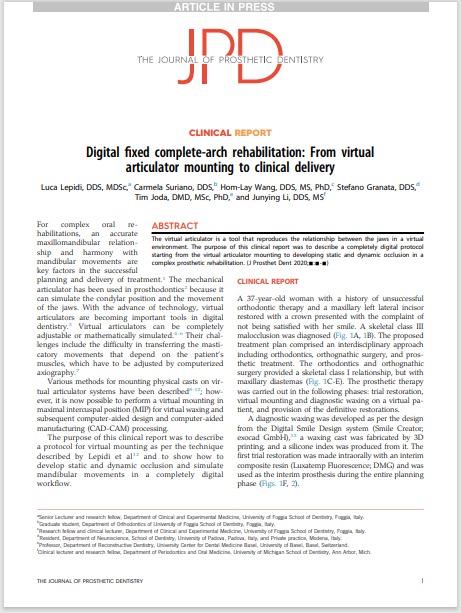 Digital fixed complete-arch rehabilitation: From virtual articulator mounting to clinical delivery