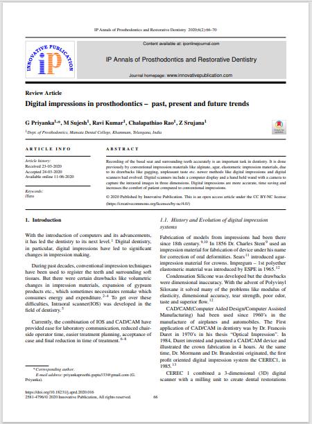 Digital impressions in prosthodontics – past, present and future trends