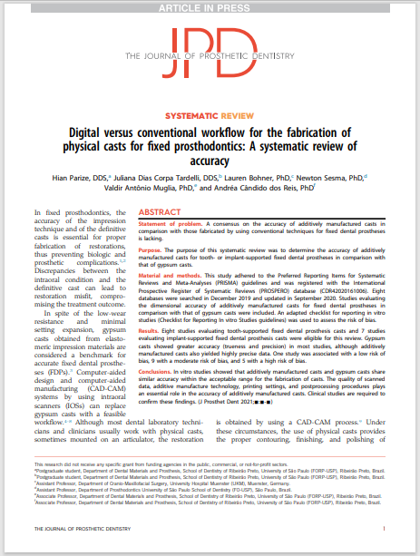 Digital versus conventional workflow for the fabrication of physical casts for fixed prosthodontics: A systematic review of accuracy