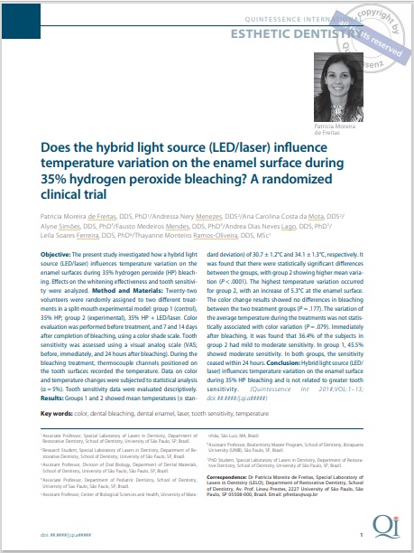 Does the hybrid light source (LED/laser) in uence temperature variation on the enamel surface during 35% hydrogen peroxide bleaching? A randomized clinical trial