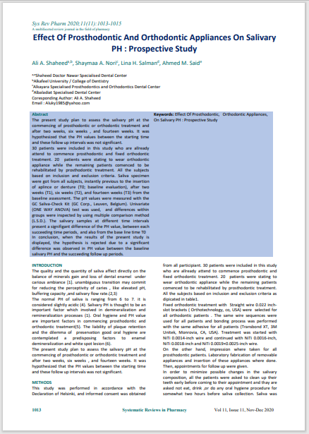 Effect Of Prosthodontic And Orthodontic Appliances On Salivary PH : Prospective Study