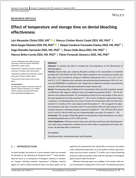 Effect of temperature and storage time on dental bleaching effectiveness