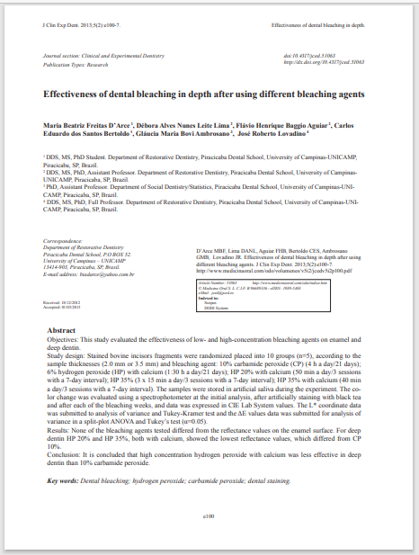 Effectiveness of dental bleaching in depth after using different bleaching agents