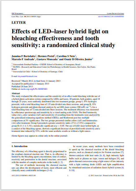 Effects of LED–laser hybrid light on bleaching effectiveness and tooth sensitivity: a randomized clinical study