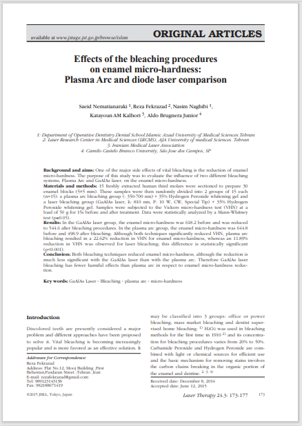 Effects of the bleaching procedures on enamel micro-hardness: Plasma Arc and diode laser comparison