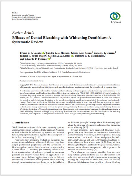 Efficacy of Dental Bleaching with Whitening Dentifrices: A Systematic Review