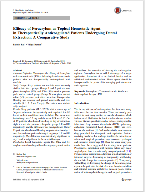 Efficacy of Feracrylum as Topical Hemostatic Agent in Therapeutically Anticoagulated Patients Undergoing Dental Extraction: A Comparative Study