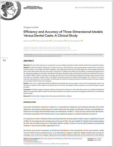 Efficiency and Accuracy of Three-Dimensional Models Versus Dental Casts: A Clinical Study