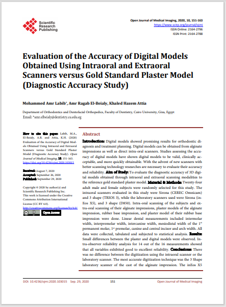 Evaluation of the Accuracy of Digital Models Obtained Using Intraoral and Extraoral Scanners versus Gold Standard Plaster Model (Diagnostic Accuracy Study)