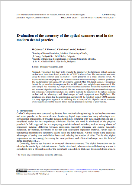 Evaluation of the accuracy of the optical scanners used in the modern dental practice