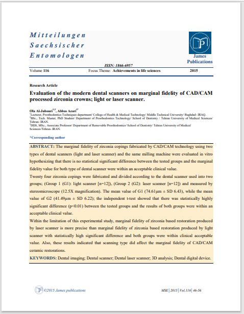 Evaluation of the modern dental scanners on marginal fidelity of CAD/CAM processed zirconia crowns; light or laser scanner.