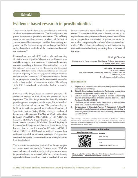 Evidence based research in prosthodontics