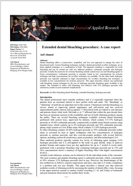 Extended dental bleaching procedure:  A case report
