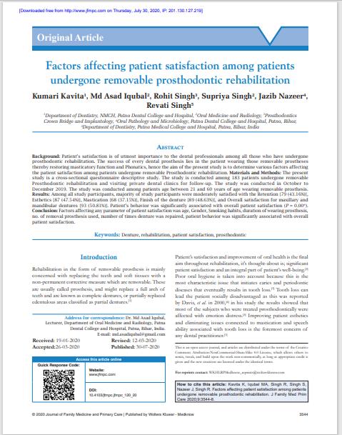 Factors affecting patient satisfaction among patients undergone removable prosthodontic rehabilitation