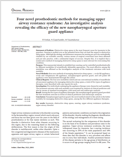 Four novel prosthodontic methods for managing upper airway resistance syndrome: An investigative analysis revealing the efficacy of the new nasopharyngeal aperture guard appliance