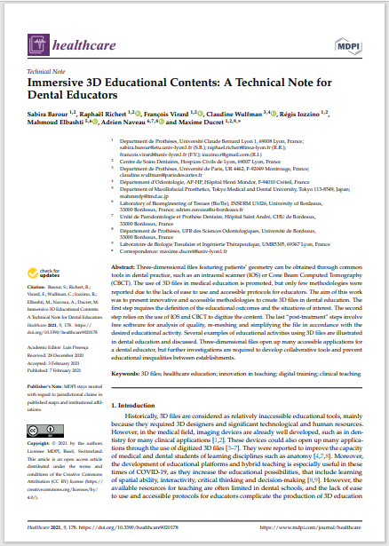Immersive 3D Educational Contents: A Technical Note for Dental Educators