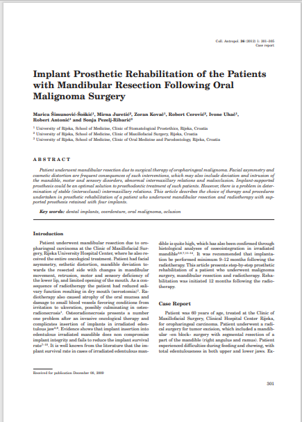 Implant Prosthetic Rehabilitation of the Patients with Mandibular Resection Following Oral Malignoma Surgery