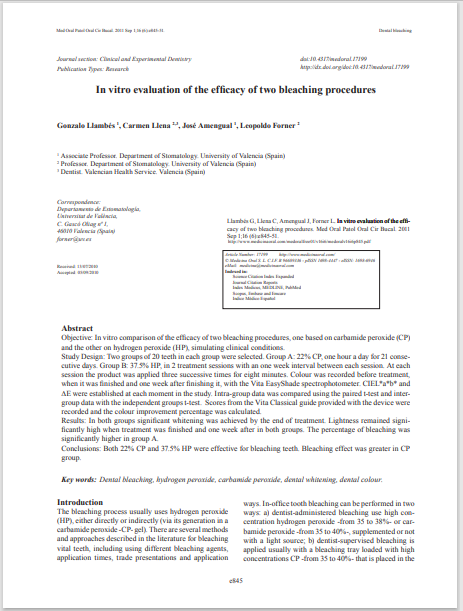 In vitro evaluation of the efficacy of two bleaching procedures