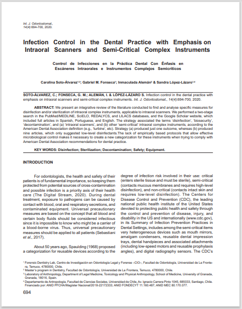 Infection Control in the Dental Practice with Emphasis on  Intraoral Scanners and Semi-Critical Complex Instruments
