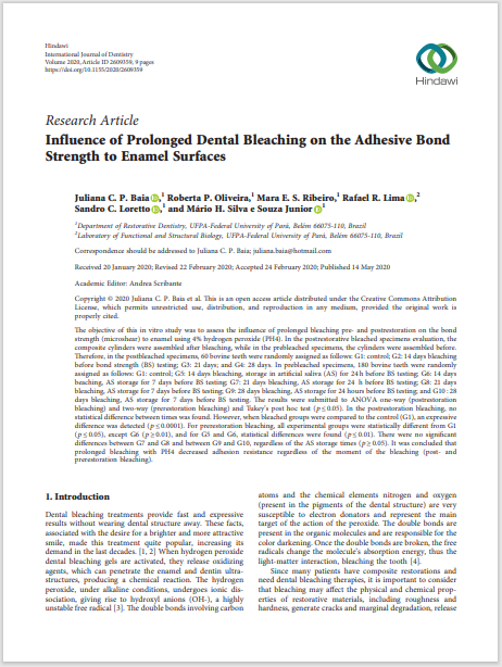 Influence of Prolonged Dental Bleaching on the Adhesive Bond Strength to Enamel Surfaces