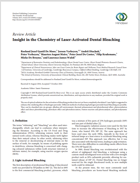 Insight in the Chemistry of Laser-Activated Dental Bleaching