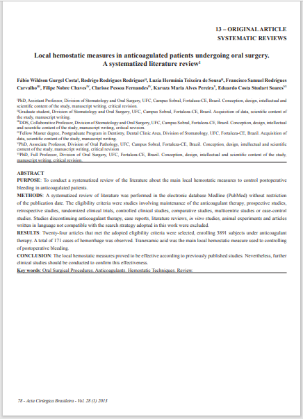 Local hemostatic measures in anticoagulated patients undergoing oral surgery. A systematized literature review