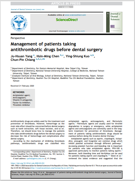 Management of patients taking antithrombotic drugs before dental surgery