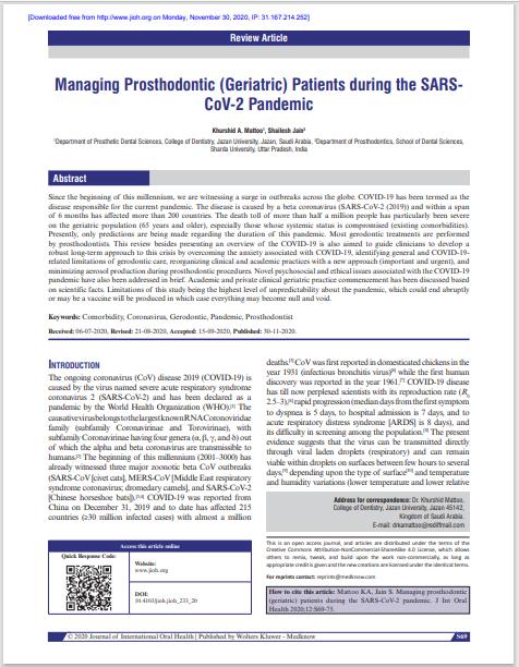 Managing Prosthodontic (Geriatric) Patients during the SARSCoV-2 Pandemic