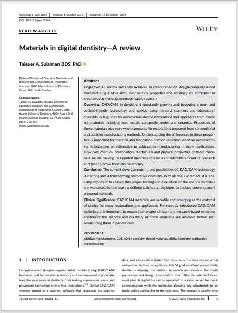 Materials in digital dentistry—A review