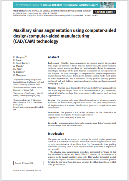 Maxillary sinus augmentation using computer-aided design/computer-aided manufacturing (CAD/CAM) technology