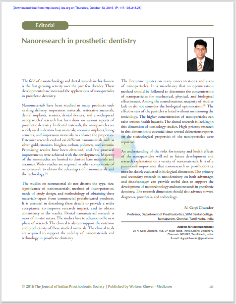 Nanoresearch in prosthetic dentistry