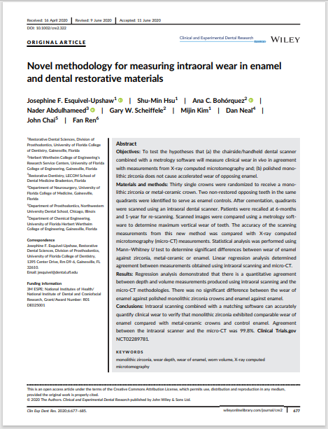 Novel methodology for measuring intraoral wear in enamel and dental restorative materials