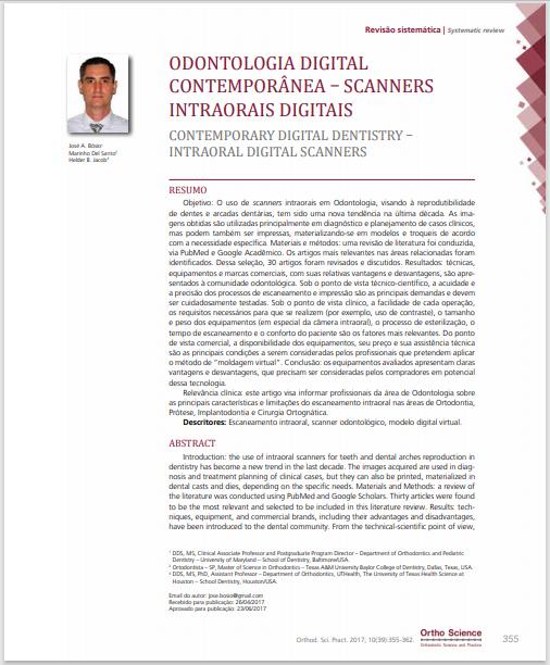 Odontologia digital contemporânea – scanners intraorais digitais