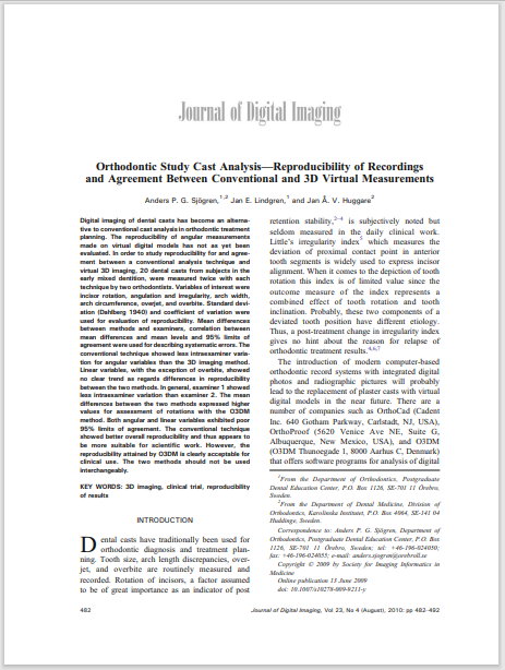 Orthodontic Study Cast Analysis—Reproducibility of Recordings and Agreement Between Conventional and 3D Virtual Measurements