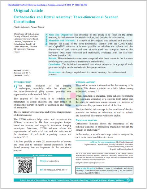 Orthodontics and Dental Anatomy: Three‑dimensional Scanner Contribution