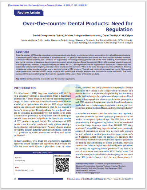 Over‑the‑counter Dental Products: Need for Regulation