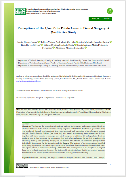 Perceptions of the Use of the Diode Laser in Dental Surgery: A Qualitative Study