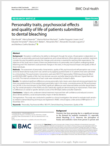 Personality traits, psychosocial efects and quality of life of patients submitted to dental bleaching