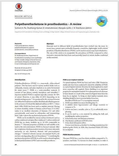 Polyetheretherketone in prosthodontics – A review