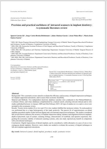 Precision and practical usefulness of intraoral scanners in implant dentistry: A systematic literature review