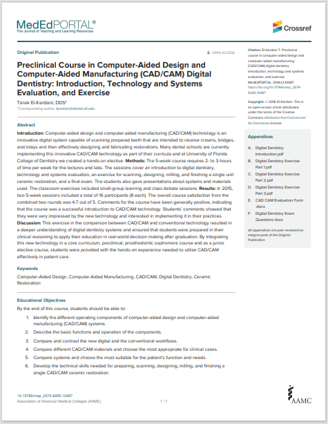 Preclinical Course in Computer-Aided Design and Computer-Aided Manufacturing (CAD/CAM) Digital Dentistry: Introduction, Technology and Systems Evaluation, and Exercise