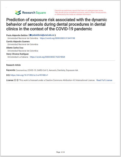 Prediction of exposure risk associated with the dynamic behavior of aerosols during dental procedures in dental clinics in the context of the COVID-19 pandemic