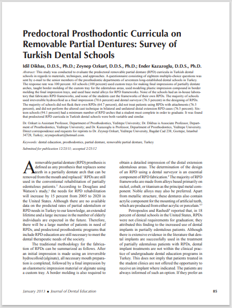 Predoctoral Prosthodontic Curricula on Removable Partial Dentures: Survey of Turkish Dental Schools