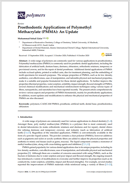 Prosthodontic Applications of Polymethyl Methacrylate (PMMA): An Update