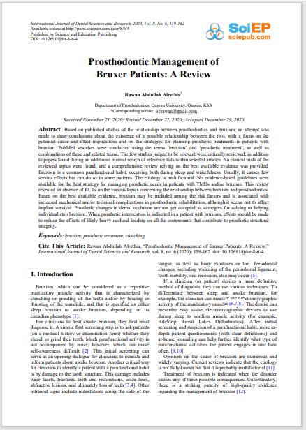 Prosthodontic Management of Bruxer Patients: A Review