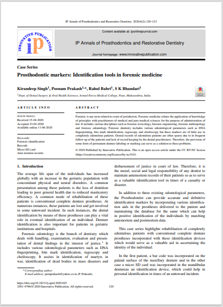 Prosthodontic markers: Identification tools in forensic medicine