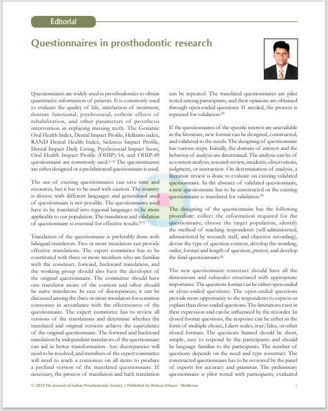 Questionnaires in prosthodontic research